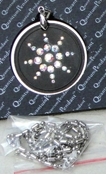 Scalar Energy Pendant Dark Gray w/Clasp,Ring,Necklace & Crystals